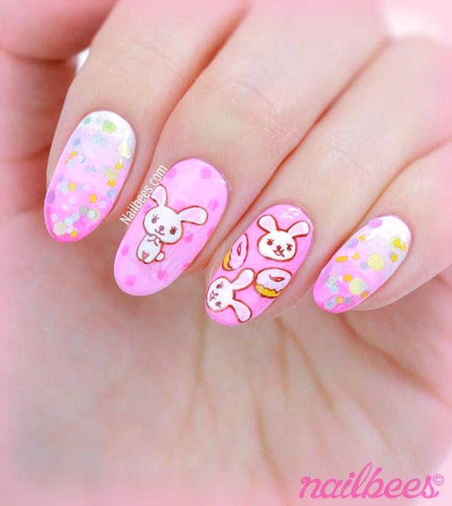 Pink moffy bunny nails.