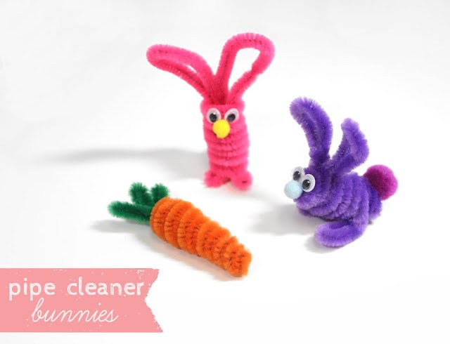 Pipe cleaner bunnies and carrot.
