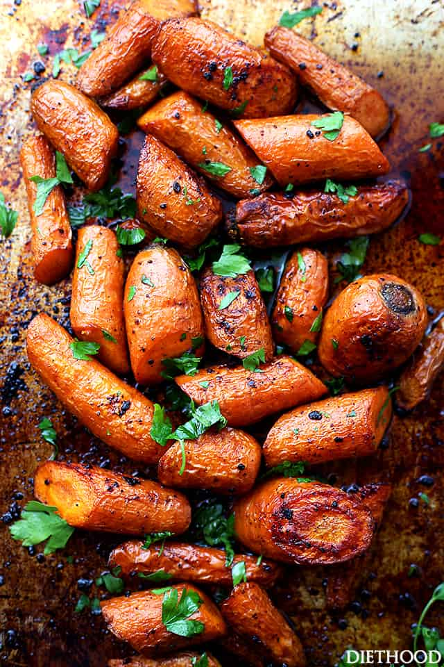 Rich garlic butter roasted carrots.
