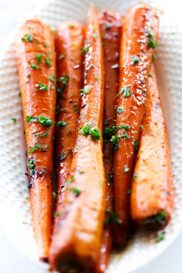 Roasted brown sugar carrots.