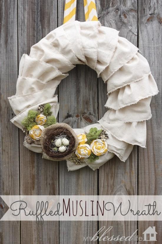 Ruffled muslin wreath with nest.