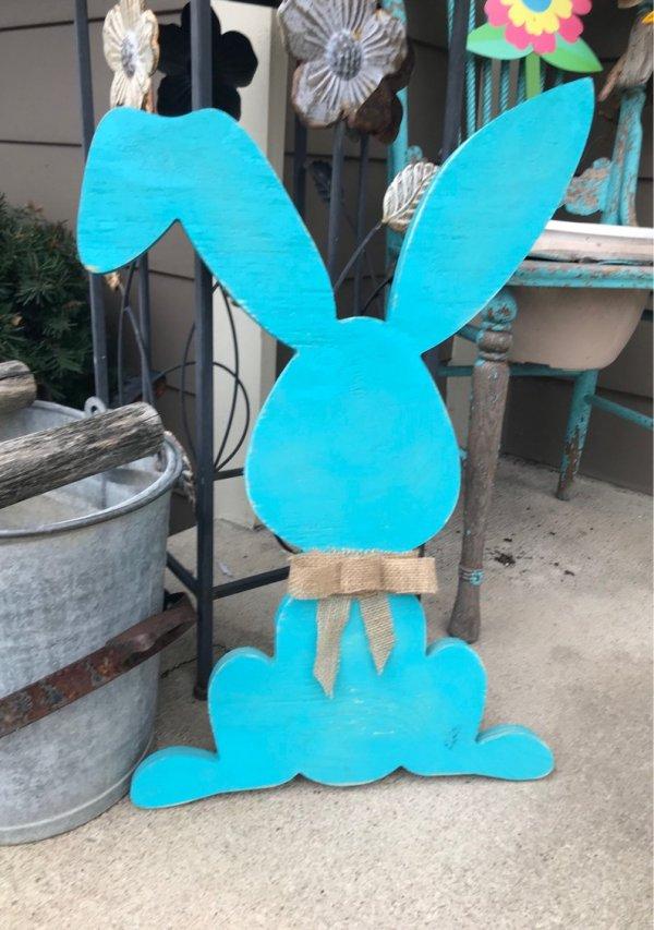 Rustic easter bunny door hanger.