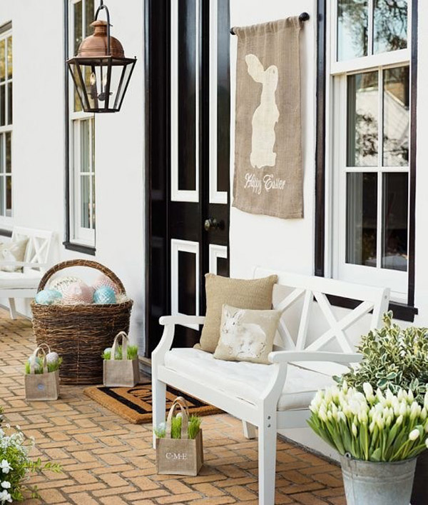 Rustic touch Easter porch decoration.