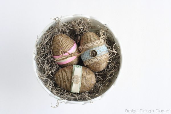 Shabby chic twine and lacy easter eggs.