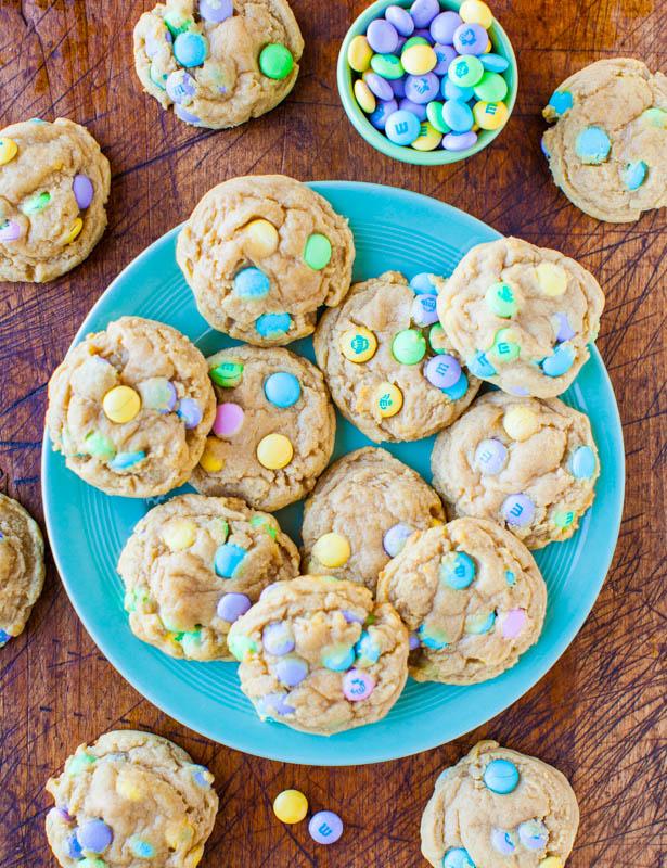 Soft M & M cookies.