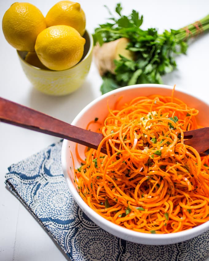 Spiralized carrot salad with lemon ginger dressing.