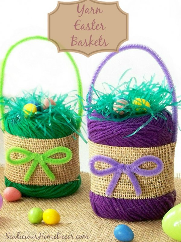 Superb yarn Easter baskets.