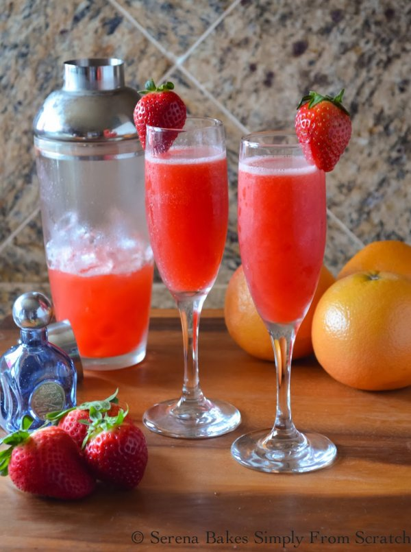 Sweet and tangy strawberry grapefruit mimosas.
