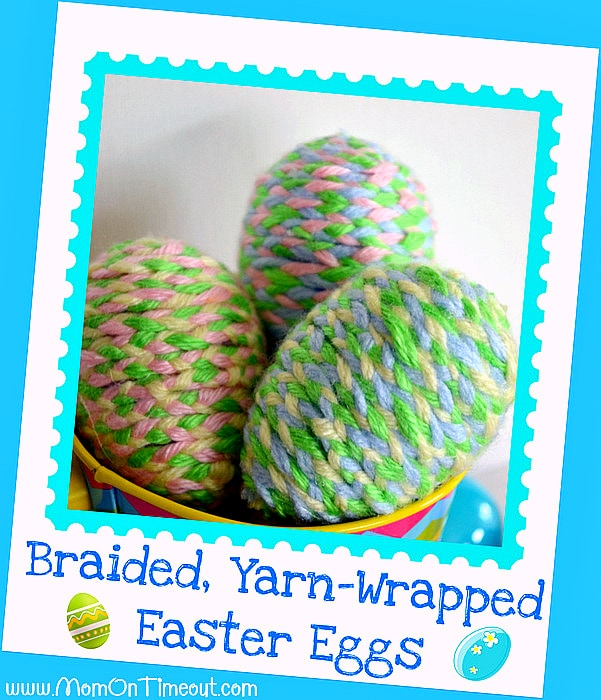Yarn wrapped braided Easter eggs.