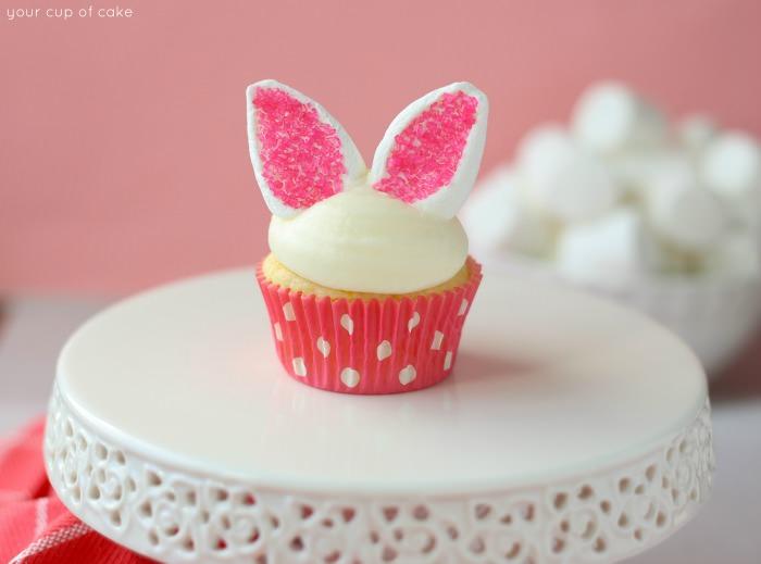 Adorable bunny ear cupcake.