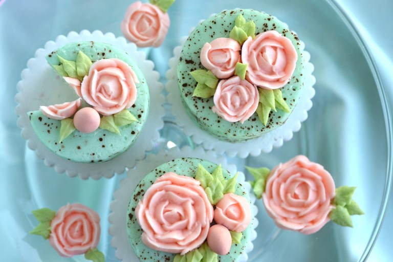 Awesome speckled egg cupcakes.