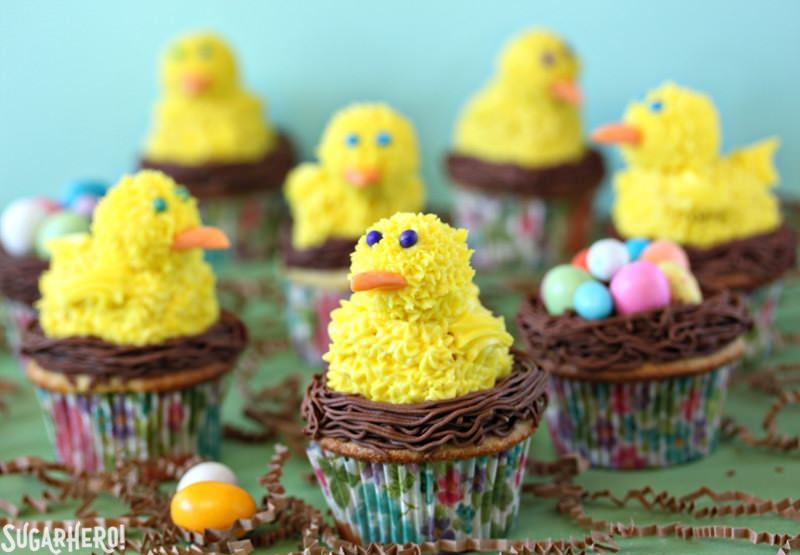Bright yellow spring chick cupcakes.