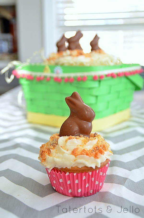 Butterfinger cupcake with chocolate bunny.