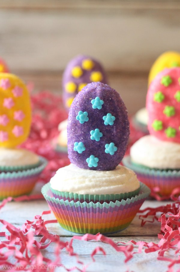Colorful marshmallow Easter egg cupcakes.