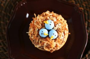 Dashing bird nest cupcake.