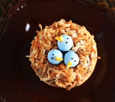 Dashing bird nest cupcake.