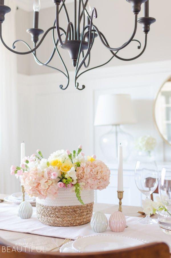 Dashing pastel color floral arrangement for Easter.