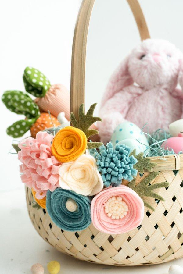 Felt flower Easter basket.