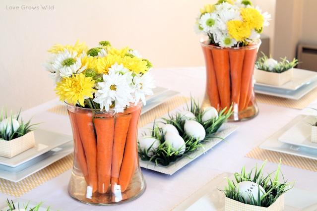 Impressive floral carrot centerpiece for Easter.