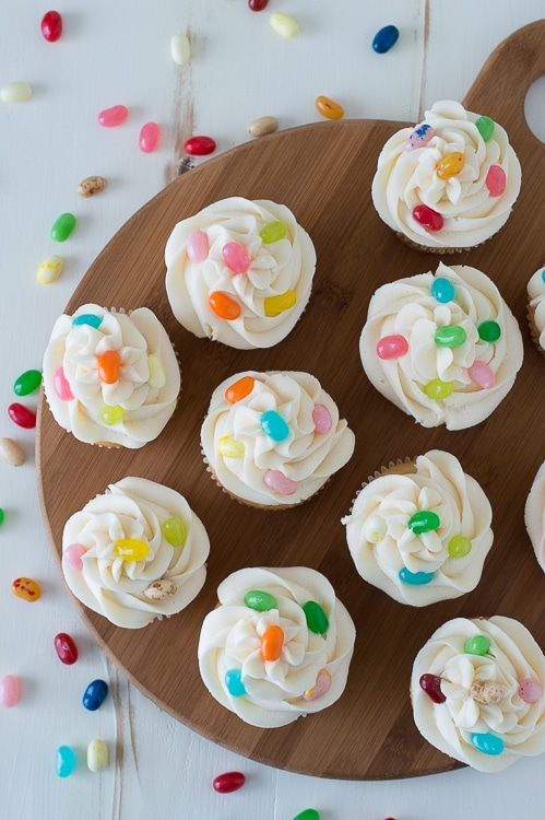 Jelly bean cupcakes.