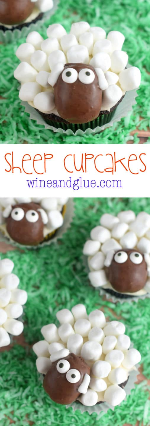 Little sheep with marshmallows and candy.