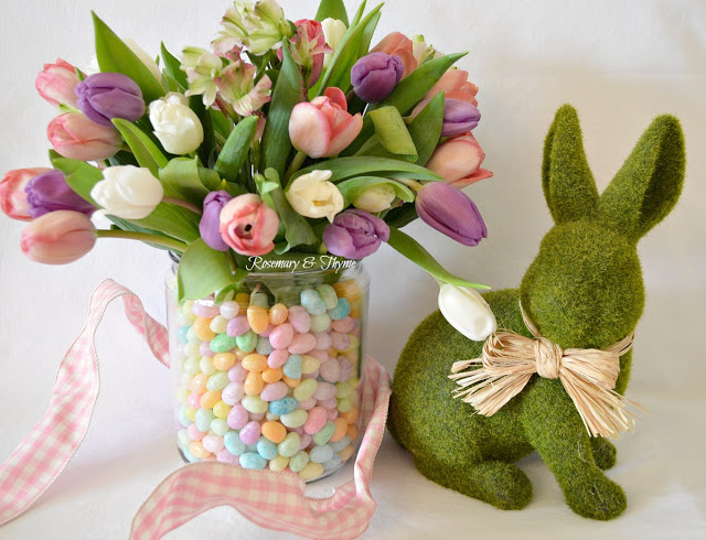 Marvelous combination of spring flowers and Easter candy.