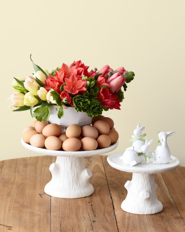 Nice neutral and simplistic farm fresh eggs with colorful lilies and bright tulips.