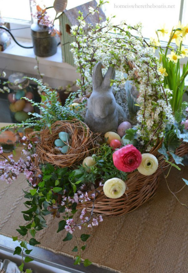 Rocking Easter basket with bunny and flowers.
