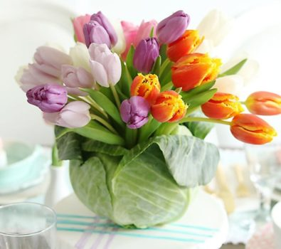 Smart tulip cabbage arrangement.