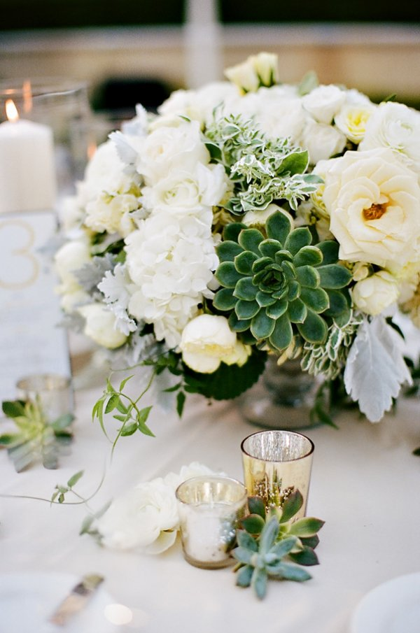 Succulent centerpiece with white flowers.