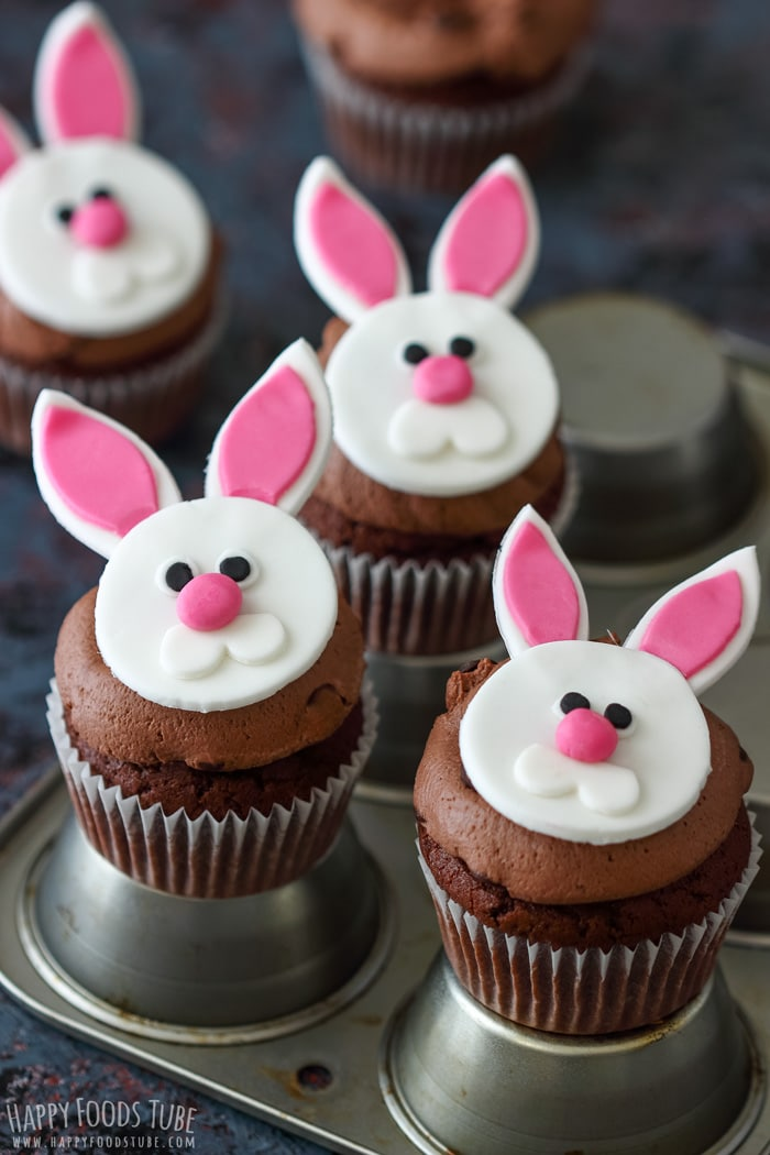 Sweet Easter bunny cupcakes.