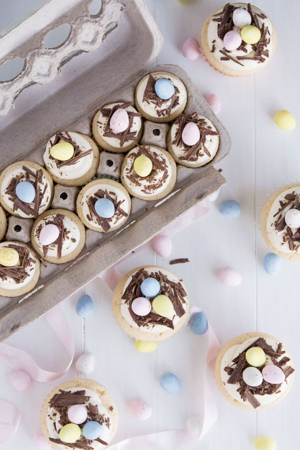 White chocolate Easter egg cupcakes.