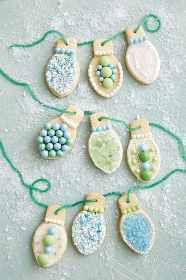 Charming Christmas light sugar cookies.
