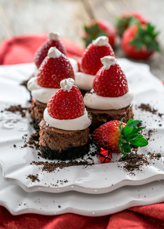 Chocolate cheesecake santa hats.