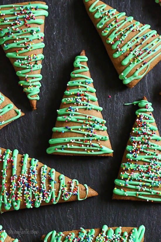 Christmas tree gingerbread cookies.