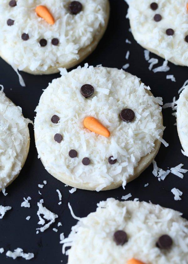 Coconut snowman cookies.
