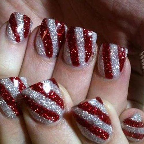 Cool red & silver glitter stripes nails.