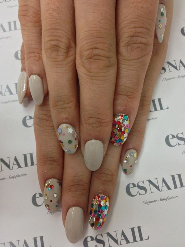 Dazzling colorful sequin nail art.