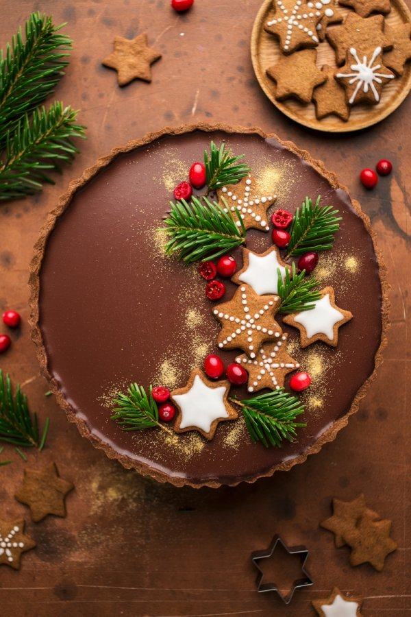 Delicious gingerbread amaretto chocolate tart.