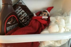 Elf in fridge on marshmallows.
