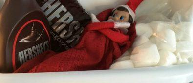 Elf in fridge on marshmallows.
