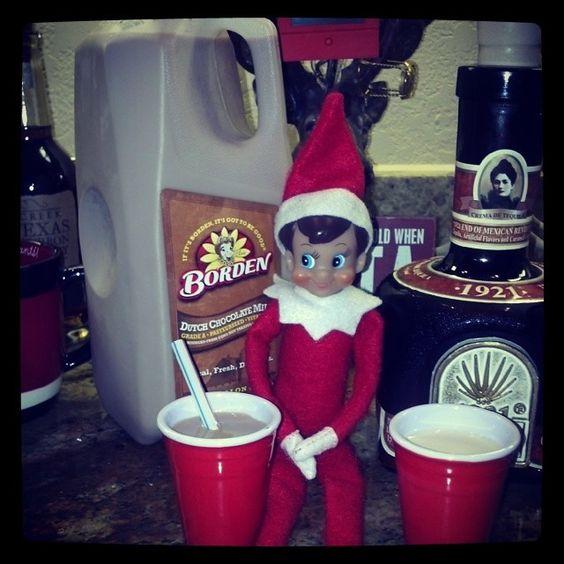 Elf on shelf confused between drinks.