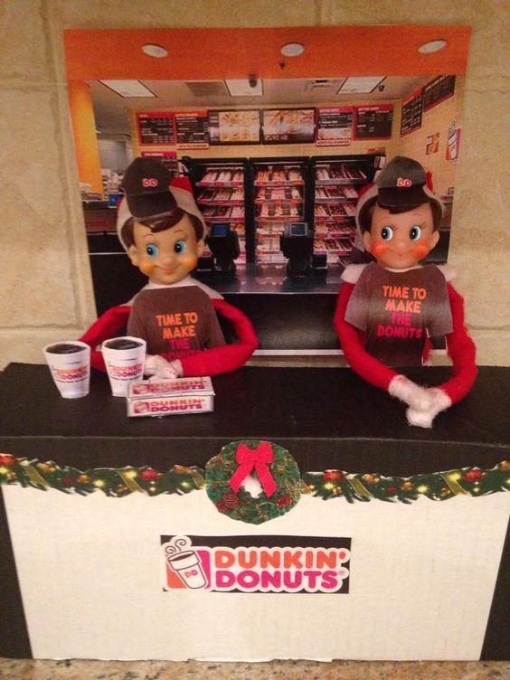 Elf on shelf on dunkin donut store.