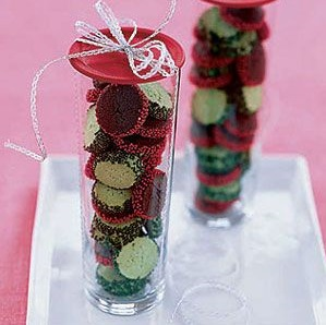 Eye-catching chocolate and peppermint cookie coins.