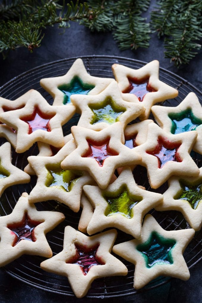 Gulten free stained glass window cookies.