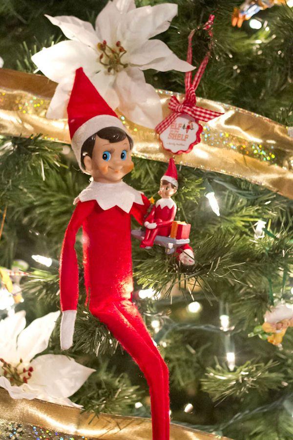 Inexpensive elf on shelf ornament idea.