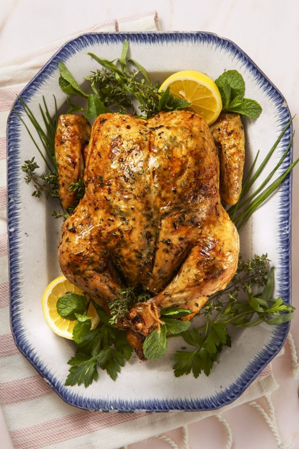 Lemony herb roast chicken.