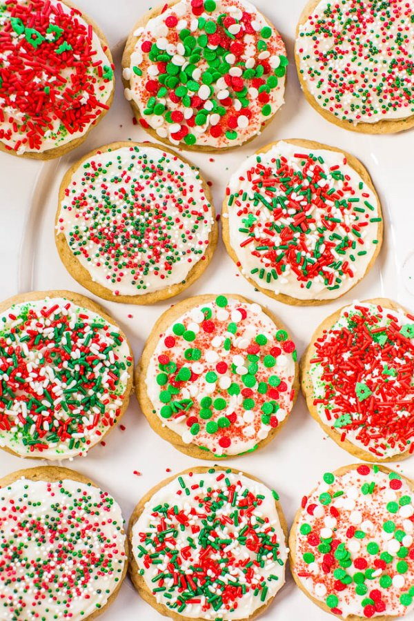 Lovely soft frosted holiday sprinkles cookies.