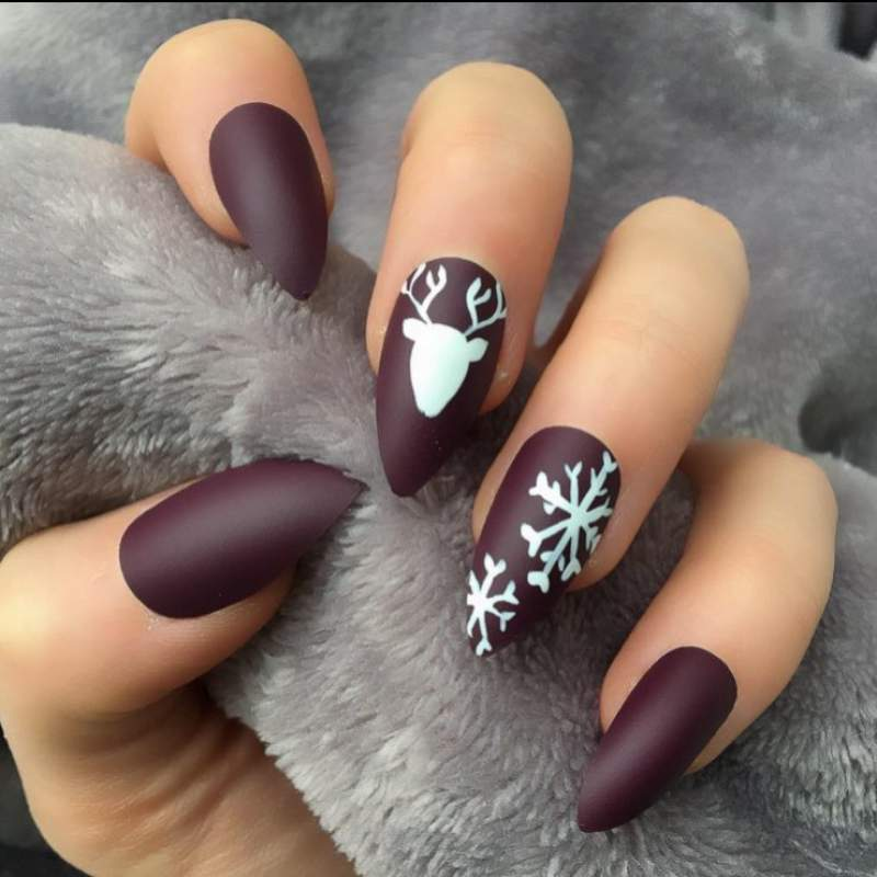 Matte brown nails for Christmas.