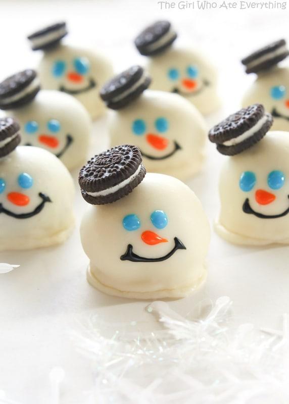 Melted snowman oreo balls.